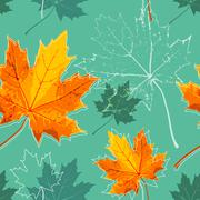 Vintage floral autumn (fall) seamless background with maple leaves Piirros