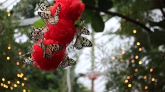 Rice Paper Butterfly Christmas Stock Footage