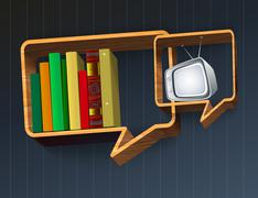 discussion of the book or tv - stock illustration
