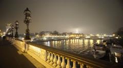 River Seine from Alexandre III Bridge in Paris in a misty night - stock footage