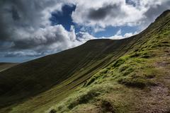 Stock Photo of beautiful landscape of brecon beacons national park with moody sky