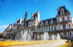 city hall building (hotel de ville) in paris, france - stock photo