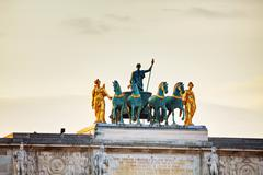 Sculpture of the chariot on top of the arc de triomphe du carrousel Stock Photos