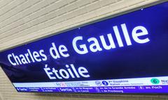 Charles de gaulle - etoile subway station sign in paris Stock Photos