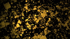 Rotation gold squares, black background, loop Stock Footage