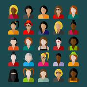 Women appearance icons. people flat icons collection Stock Illustration
