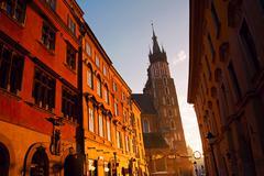 saint mary basilica and florianska street in krakow - stock photo