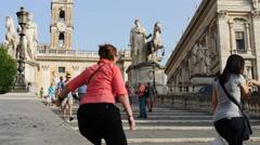 Tourists climb Campidoglio steps rome TL 4K Stock Footage