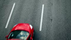 STOCKHOLM, SWEDEN: High angel top view of cars in a highway inside the city Stock Footage