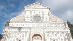 Facade of Santa Maria Novella church in Florence, Italy Stock Footage