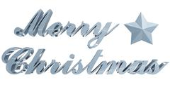 merry christmas greeting, bluish 3d letters and star on white - stock photo