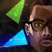 Illustration of an african american man face in polygonal style. modern poster, Stock Illustration