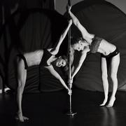 Pole dance duo - stock photo
