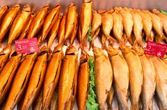 Fish in a fish stall at the Albert Cuyp market in Amsterdam, Net - stock photo