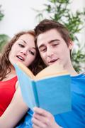 Stock Photo of two students read out loud