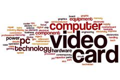 video card word cloud - stock illustration