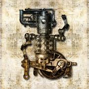 antique mechanical figure - stock illustration