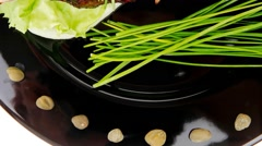 Served savory plate: meat ribs with chives Stock Footage