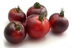 Five indigo tomatoes Stock Photos