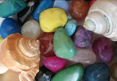multi-colored polished stones - stock photo