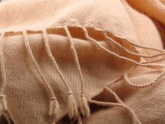 pink pashmina wool with fringe - stock photo