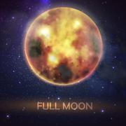 Stock Illustration of Mystical vector illustration of bloody full moon on the night sky background.