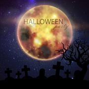 Halloween vector illustration with full moon and cemetery on the night sky Stock Illustration