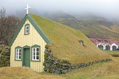 Stock Photo of traditional icelandic church in the countryside from iceland