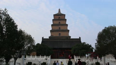 Tourists in Great Wild Goose Pagoda Stock Footage