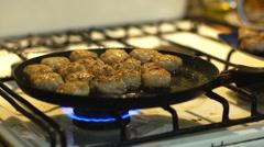 Pork Cutlets fried in oil in a frying pan Stock Footage