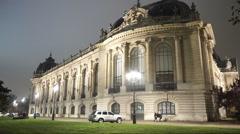 Night shot of Petit Palais exhibition hall in Paris Stock Footage