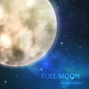 vector illustration of  full moon on the night starry sky background - stock illustration