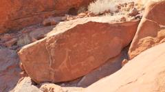 Prehistoric bushman rock carvings namibia Stock Footage