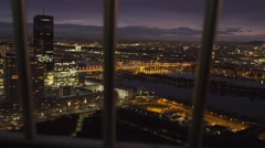 Vienna by night Danube from high viewpoint Stock Footage