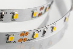 LED strips without silicone protection made a SMD 3-chips techno - stock photo