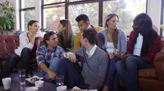 4K Portrait of cheerful casual group of young friends hanging out together - stock footage