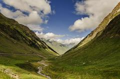 a picture from the valley in pyrenees mountians - stock photo