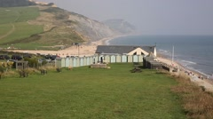 Charmouth beach Dorset England UK overlooking Lyme Bay Stock Footage