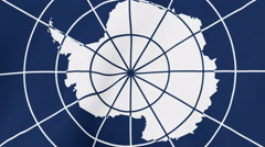 Loopable: Antarctic Treaty Flag Waving in Wind Stock Footage