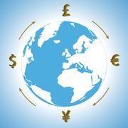money around the world - stock illustration