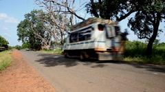 Africa Geba bus on traffic road Guinea Bisseau Stock Footage