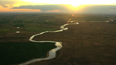 Aerial Idaho USA Snake River sunset Plain Shoshone Park - stock footage