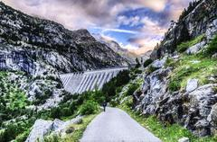 A picture at the dam in pyrenees mountians Stock Photos