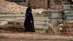 A Moroccan woman with a gown sheparding her lambs Stock Footage