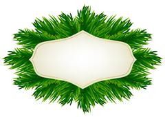 fir-tree branches and baubles - stock illustration
