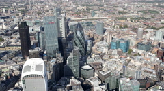 4k london city aerial helicopter flight urban skyline Stock Footage