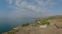 Aerial view of the The  Church  In Capernaum on Lake Kinneret, Israel. Stock Footage