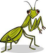 Mantis insect cartoon illustration Stock Illustration