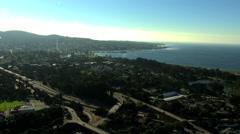 Aerial Monterey coastline road Pacific California USA Stock Footage