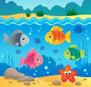 Underwater ocean fauna theme  - stock illustration